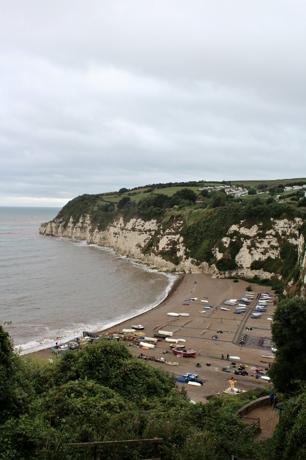 view of Beer beach from the walk to Seaton