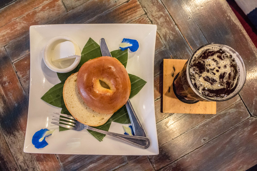 BAGEL WITH CREAM CHEESE + AN ICED AMERICANO