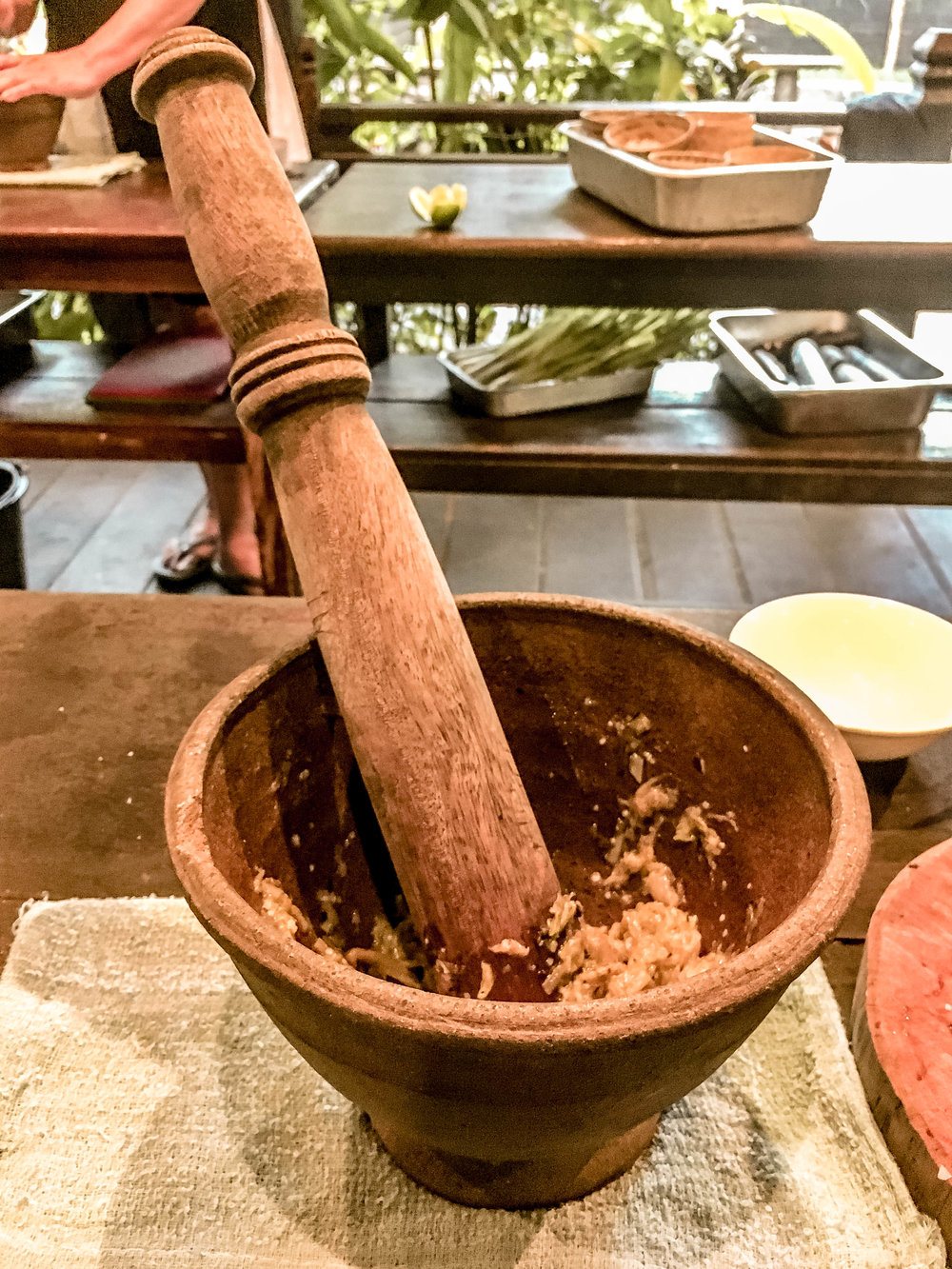 TRADITIONAL PESTLE AND MORTAR METHODS FOR MAKING JEOW