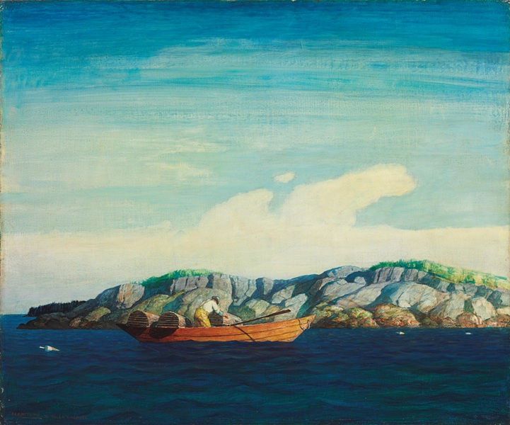 Newell Convers Wyeth, Norry Seavey Hauling Traps Off Blubber Island, oil on board. Estimated value: $300,000 – $500,000