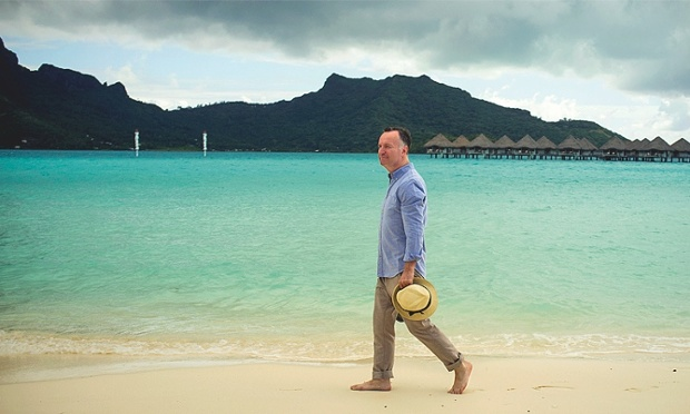 Andrew O'Hagan photographed at Le Meridien Resort, Bora Bora.