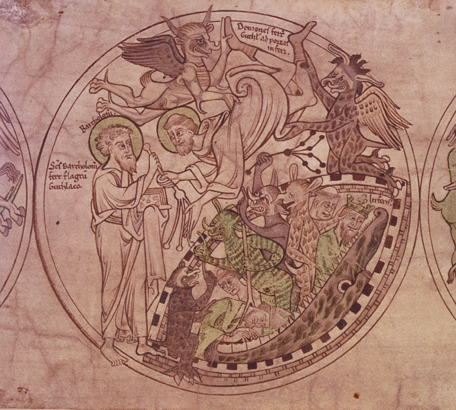 St Guthlac is presented with a whip by St Bartholomew as he is tormented by demons.