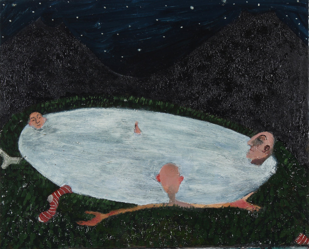Izzy Thomson. Night Time Bathing. Oil on board.jpg