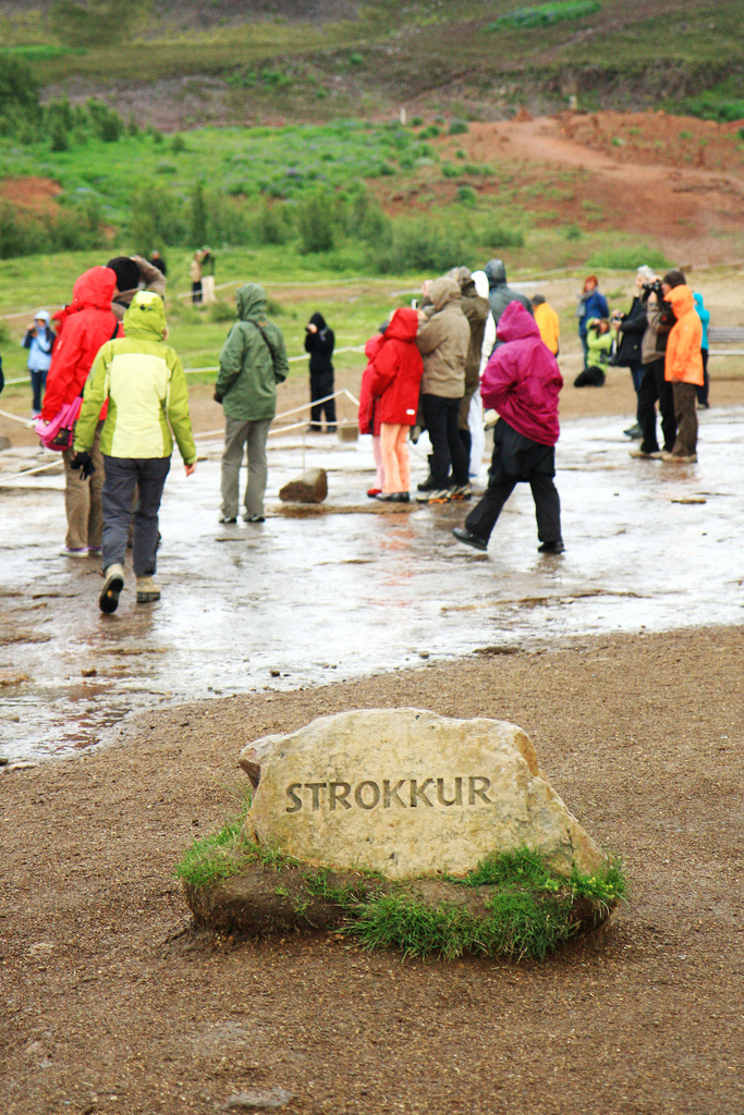 Tourists at the Strokkur geyser. Photograph:  Andrea Schaffer  CC 2.0