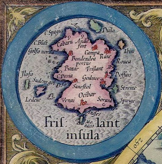 Frisland detail from Mercator's 1623 Arctic map