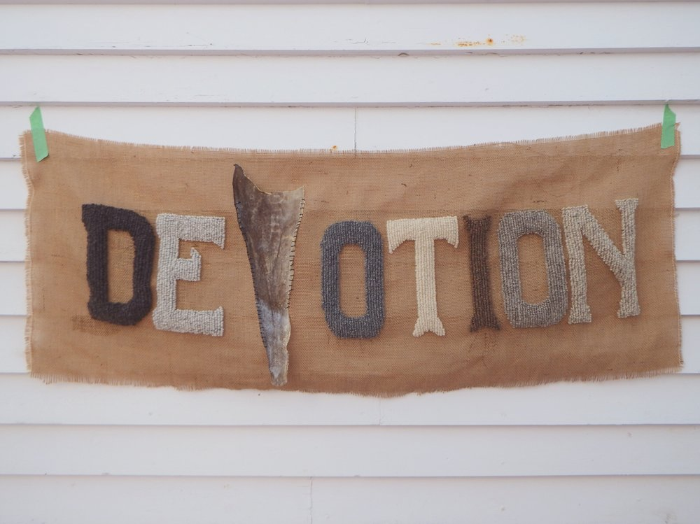 DEVOTION, 2017. Canadian and Shetland wool, burlap, Shetland cod with hand stitching. Vivian Ross-Smith and Jane Walker.