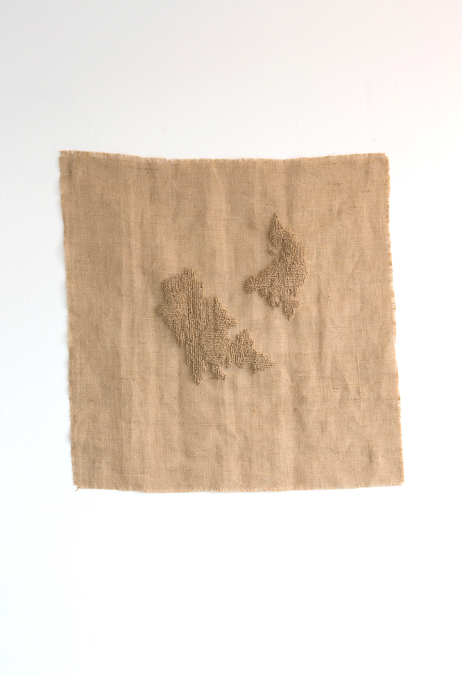 islandness , 2016. Burlap on burlap. Jane Walker.