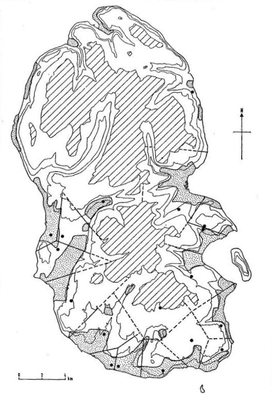 Image 2: Colin Renfrew's map of Arran based on territories and chambered tomb locations (from Renfrew 1973  Before Civilisation , Penguin).
