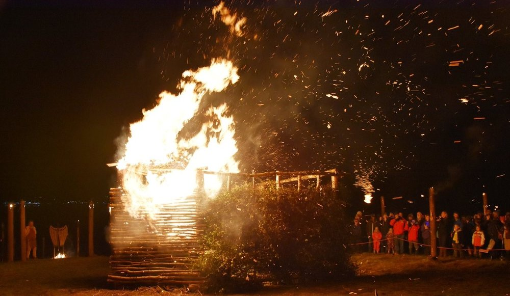 Climax of the Burning the Circle 2017 prehistory fire festival. Photo:graph by G MacGregor.