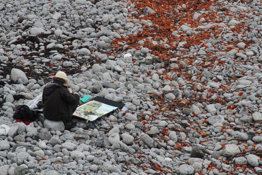 Kittie Jones working on the Shiant Islands. Photo credit Chris Leakey