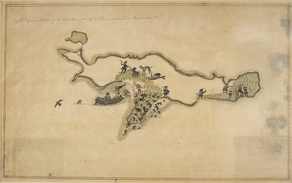 The Falkland Islands (1768). Part of a map of the archipelago made by Thomas Boutflower, a carpenter who sailed there as part of a British mission to claim the territory. HIs efforts did little to dispel the thoughts of those in the British establishment who were doubtful about the islands' economic potential.