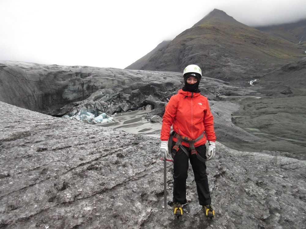 Nancy Campbell on a glacier in Iceland.