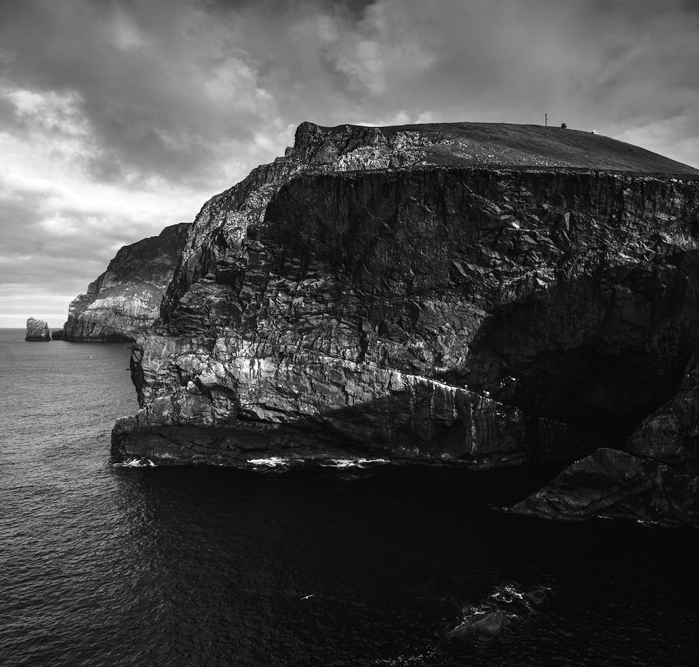 Conachair and Geo na h-Airde sea cave from Gob na h-Aird