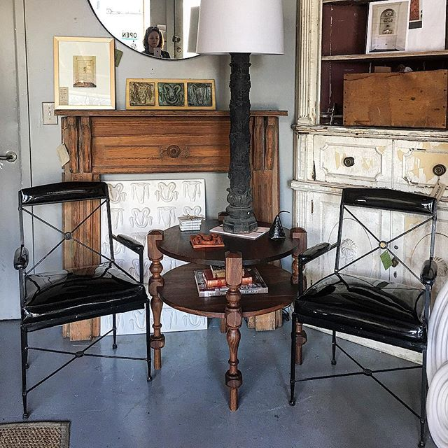 Hampstead Table in the house at @workshopchs.  So many beautiful things to see in here...beautiful craftsmanship mixed with high design. . . . #belleandburl #workshop #charleston #uppperking #shopping #antiques #midcentury #casepieces #accessories #collections #design #heart #love #instagram #instagood