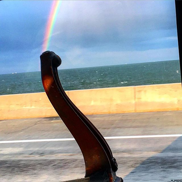 Seriously one of the biggest and baddest rainbows we have ever laid our eyes on.  A scene from our pick up in #virginiabeach today. . . . #belleandburl #rainbowconnection #biggest #baddest #rainbow #bridge #tunnel #antiquechairleg #pretty #design #interiors #furniture #hope #heart #love #instagram #instagood