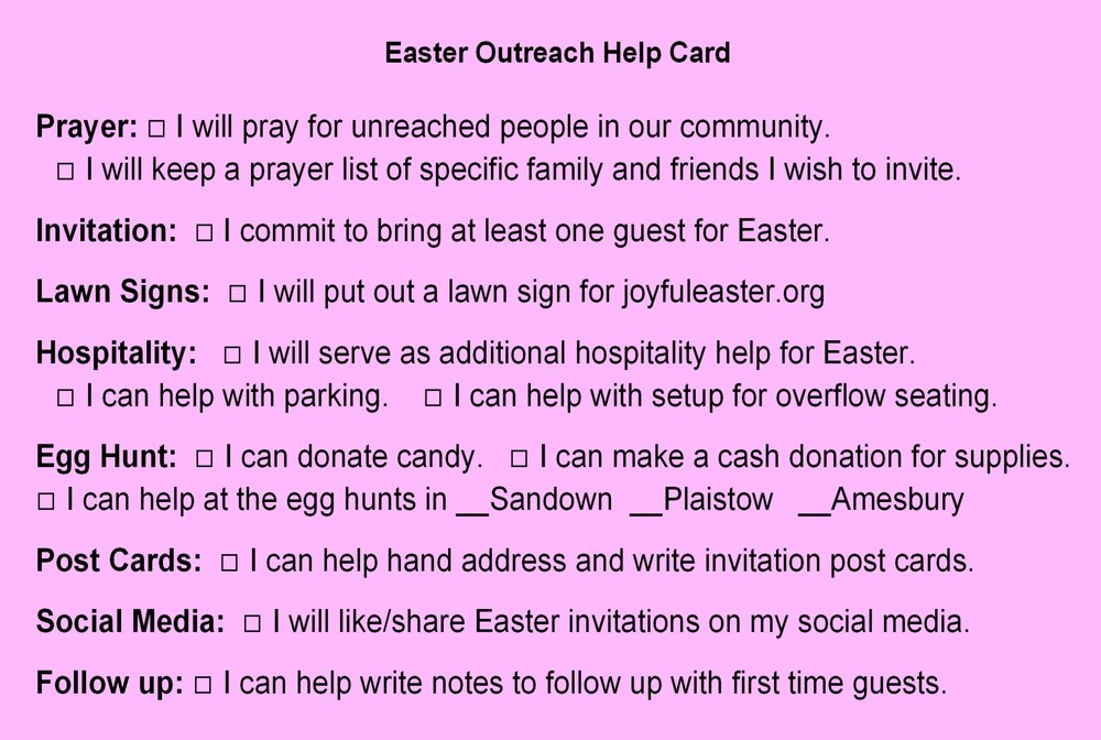 if you didn't have an opportunity to complete an Easter Outreach Help Card, it's not too late.