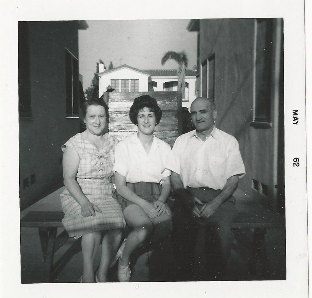 1962 | Stuart Townsley's mother (Linda)and grandparents (Sam & Jessie Townsley) sitting in the backyard - next to Holt #1.