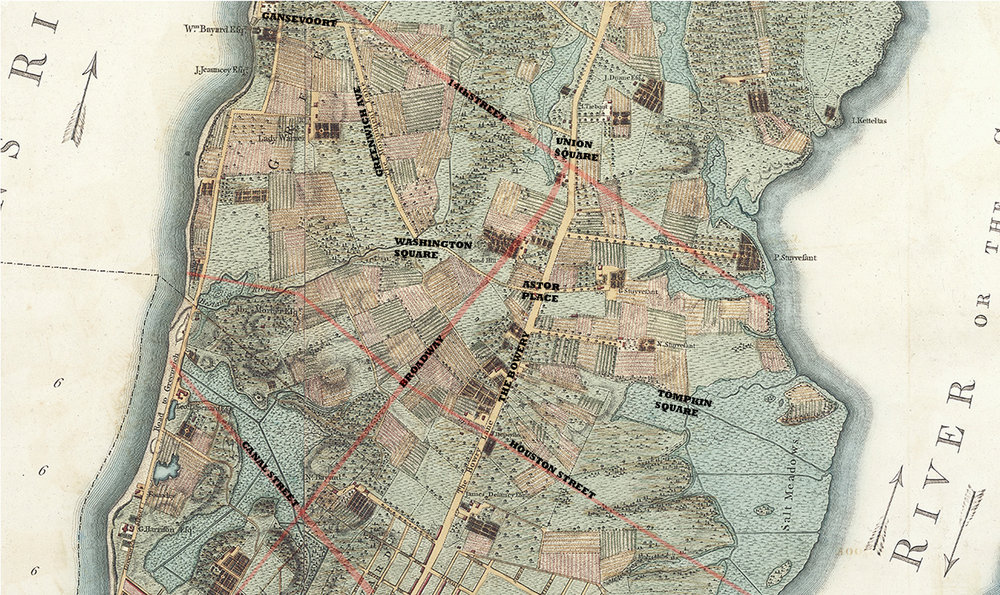 """The Village"",east and west, on the 1776 colonial Razter Map. My overlay in pink and bold type of the present day streets and squares."