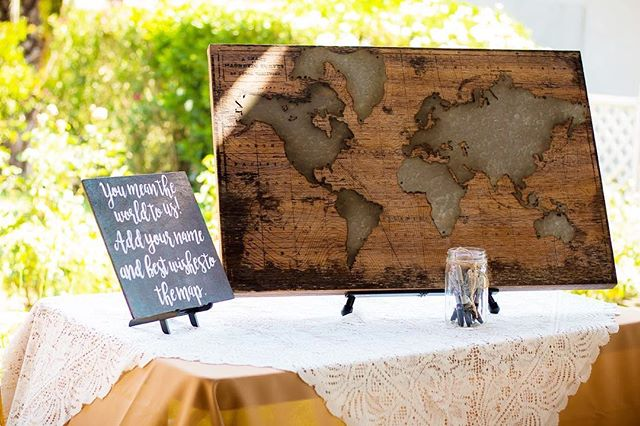 Who says your guest book needs to be a book? How cool is this map for guests to sign?!