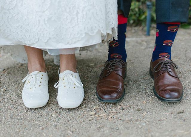 OH GIRL. You have got to wear comfortable shoes for your wedding! If not all day at least for your reception!! @keds has the cutest @katespadeny shoes that are perfect for you (think polka dots or glitter with ribbon laces)! Then you can wear them on the plane to your honeymoon! And let him wear whatever socks he wants😉