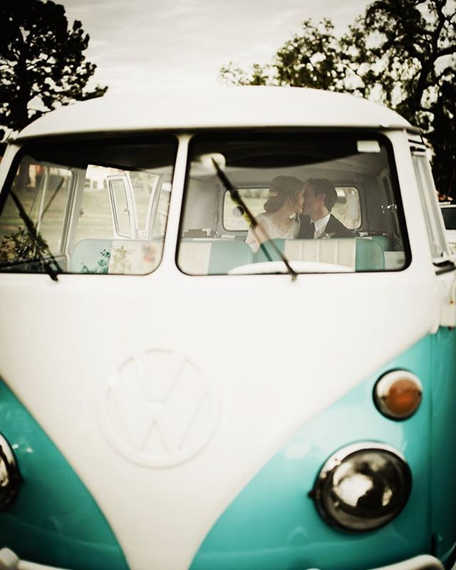 How about this cozy getaway car for a rainy winter wedding? Guests absolutely loved the vintage VW van for Kelsey and Chris's send off!