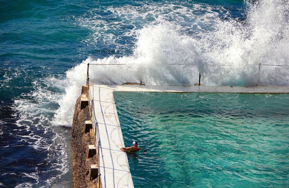 "Andrew Southam, Icebergs Bondi Beach, 11"" x 17"""