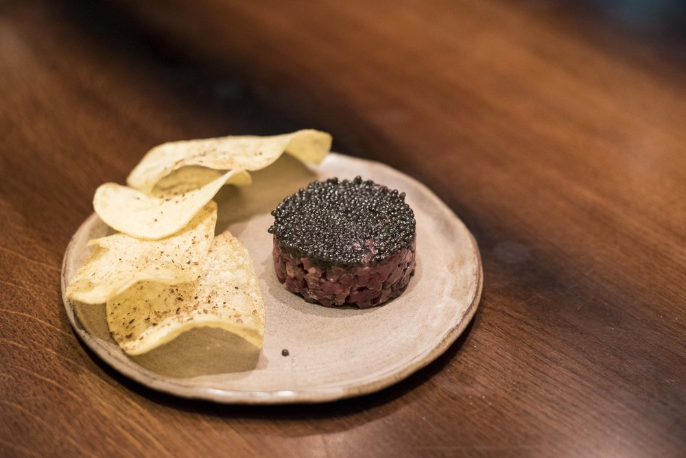Raw beef, ox heart, fillet & bavette, oyster emulsion, Sturia caviar