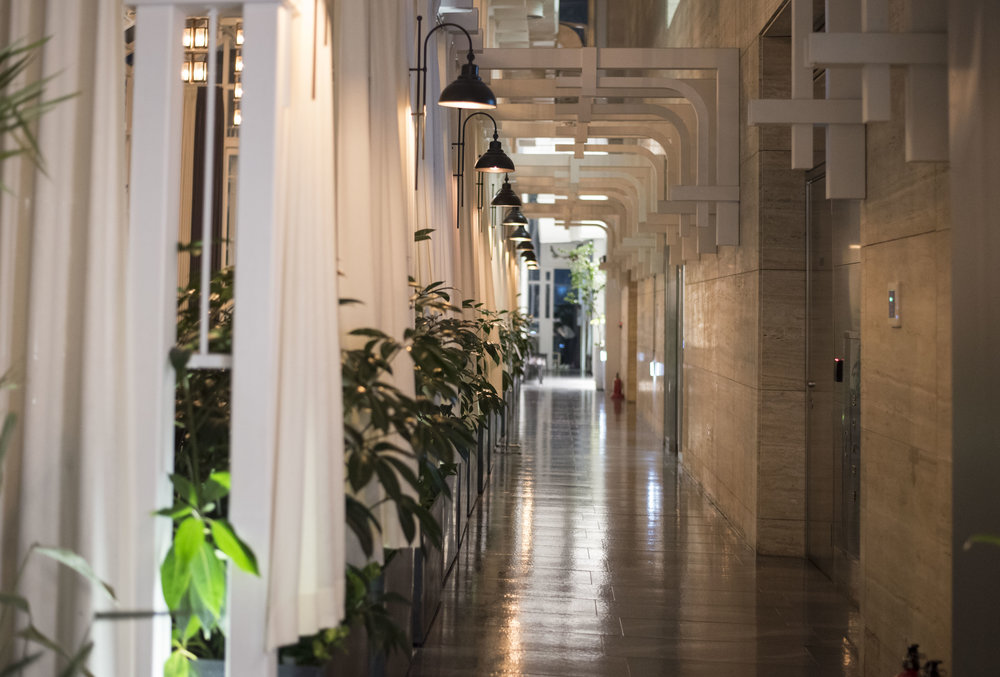 Entry corridor to the restaurant.