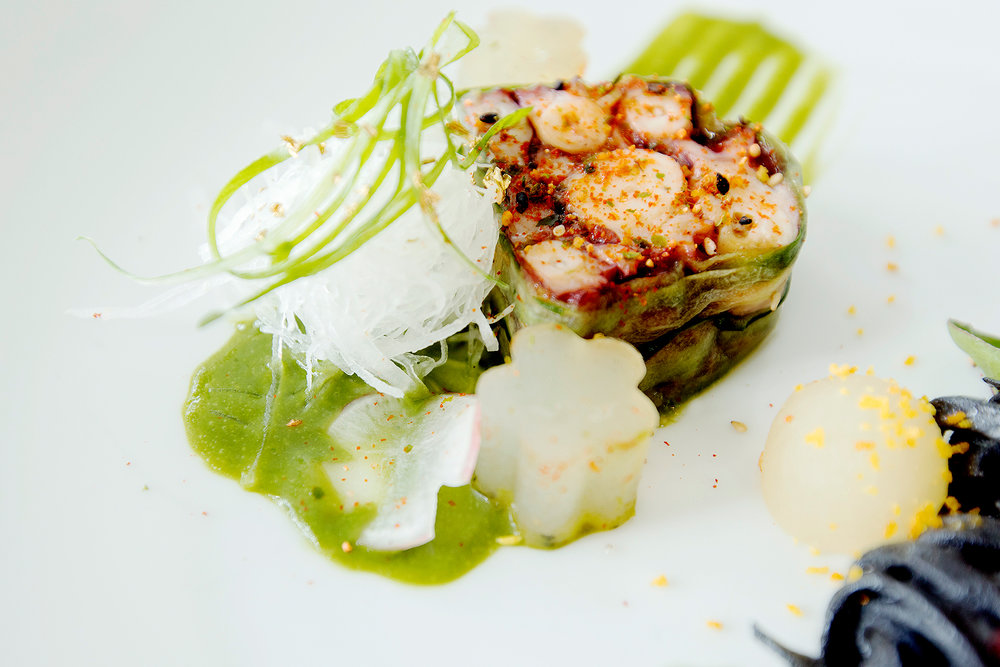 Octopus tentacles terrine with shiso-wakame puree and braised daikon