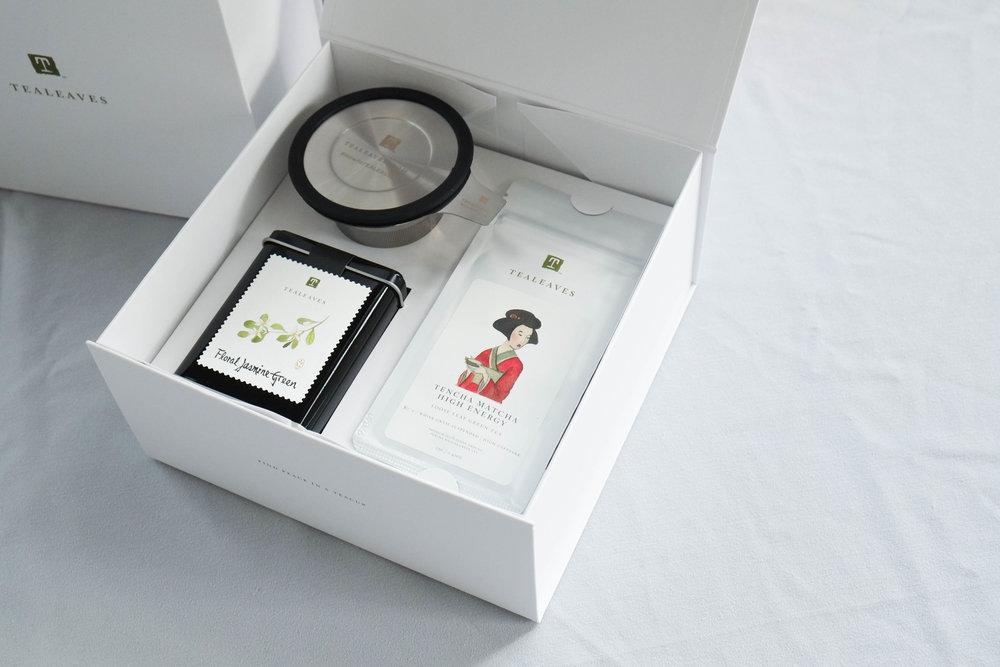 Floral Jasmine Green and Tencha Matcha tea set from Tealeaves.