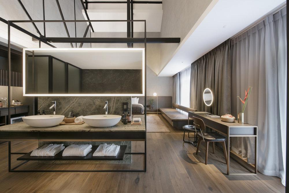 Open concept floor plan inside the Hotel rooms.