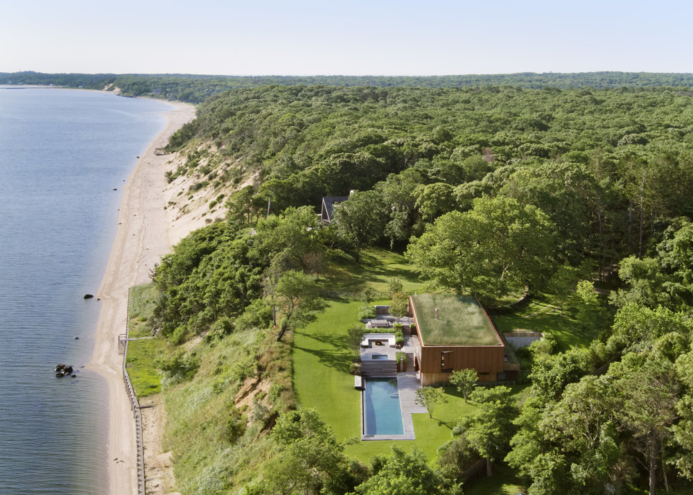 Aerial shot of The Peconic House.