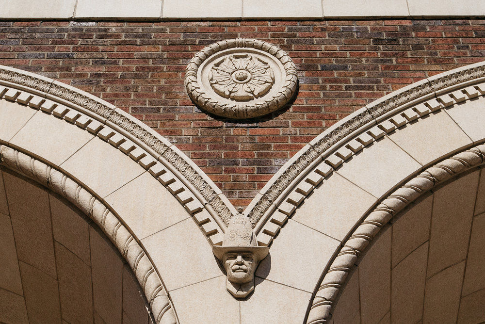 Original architectural details from the former Fire Department Headquarter.