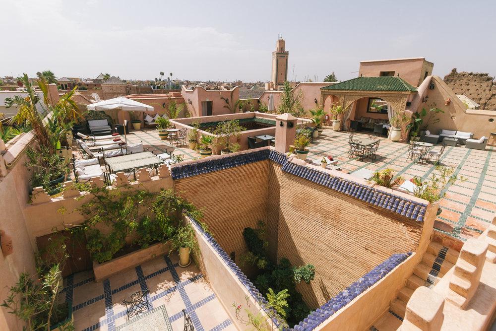Large rooftop terrace at Esprit du Maroc.
