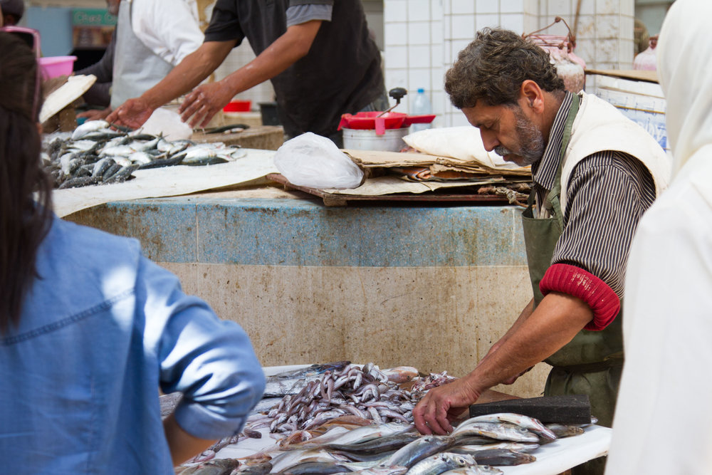 A local indoor fish market.