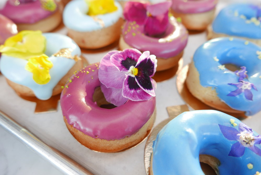 Fresh floral on baked goods.