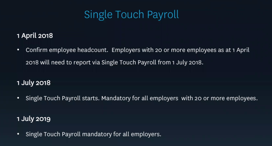 Source: Xero Dec Quarter 2017 Payroll Update webinar