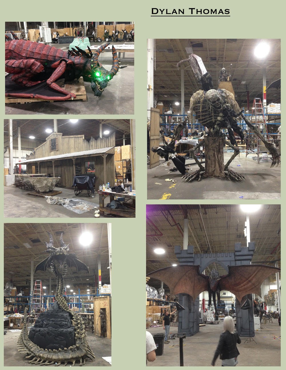 "Large scale animatronic props and sets that I helped to assemble and paint while working at ""The Scarefactory Inc."""
