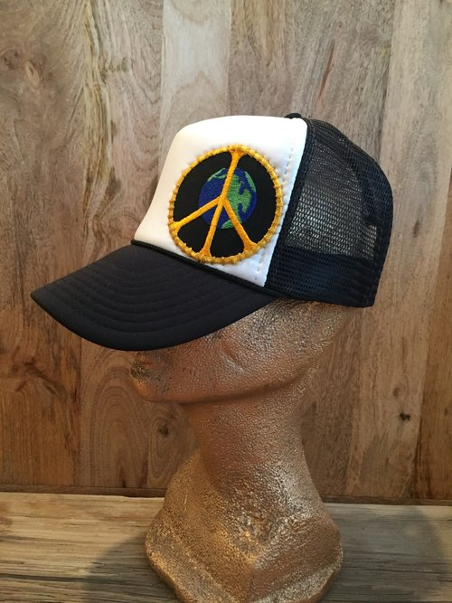 dd157967 Earth World Peace Sign Vintage Patch on Trucker Hat