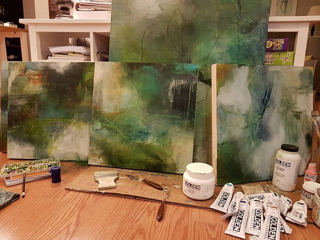 """Progress shot.  I always think my paintings are horrible while I'm working on them, and then I catch a glimpse of them walking past and think """"Hey! That looks great"""". I don't know with these right now. They feel a bit muddied to me so I may just paint over and start again. . . . #kylalynneperry #abstract #abstractexpressionism #acrylicpainting #art #artist #painting #painter #abstractart #abstractartist #abstractpainting #abstractpainter #acrylicpainting #originalart #contemporaryart #contemporaryartist #modernart #modernartist #instaart #homedecor #interiordesign #decorate #emergingartist #dailyart #intuitivepainting #artiststudio #intuitiveart #abstractlandscape #wip #workinprogress"""