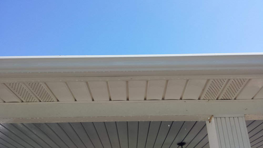 "Dark ""Tiger Stripes"" - After.  All clean!!!  Looks new again.  Gutter Cleaning in Lexington North Carolina."