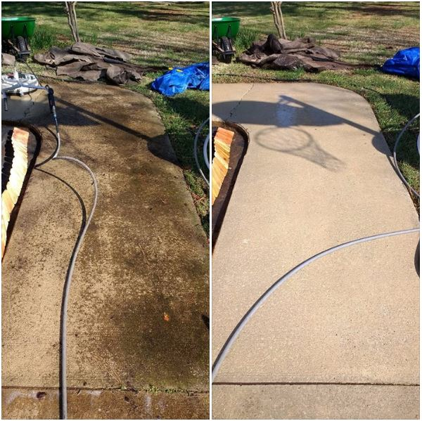 Dirty Concrete as seen on the left can be dangerous and take years off the life of your concrete. Look at the difference concrete cleaning from Hogwash Pressure Washing can make!