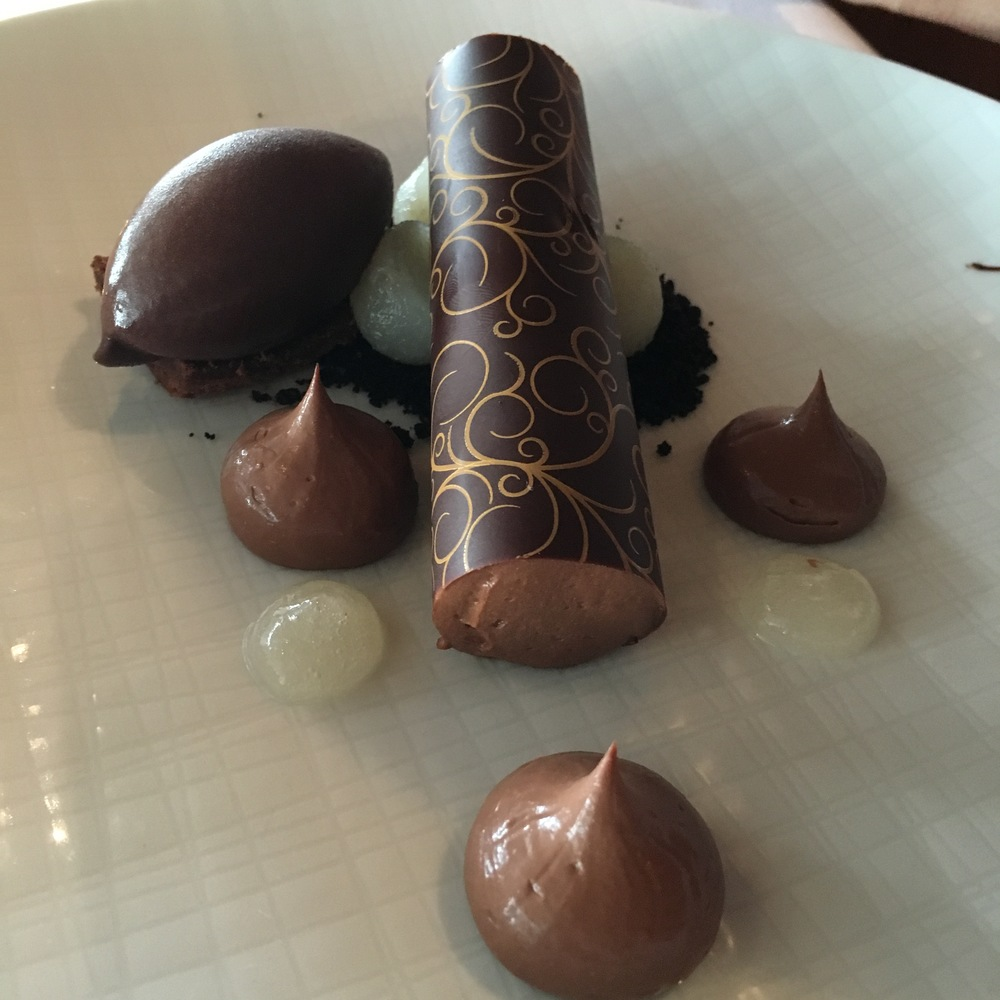 Aria: Valrhona Chocolate with Beurre Bosc pear and roasted cocoa sorbet
