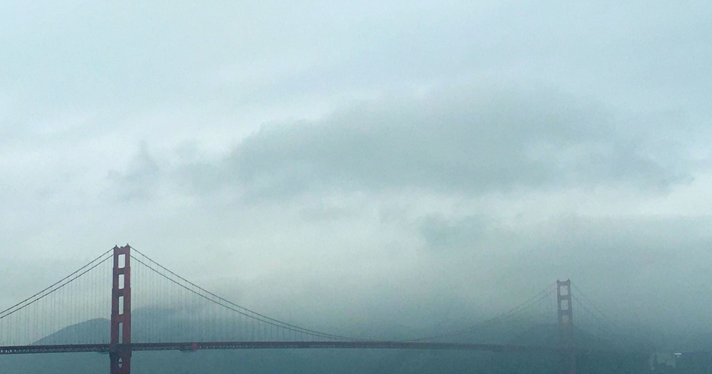 The Golden Gate Bridge in the morning fog