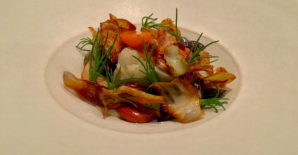 Salad of globe artichoke, sheep milk feta, agretti, young carrots, smoked almonds.