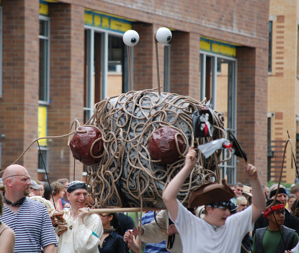 Pirate Pastafarians brought the Flying Spaghetti Monster to the parade! by Steve Voght