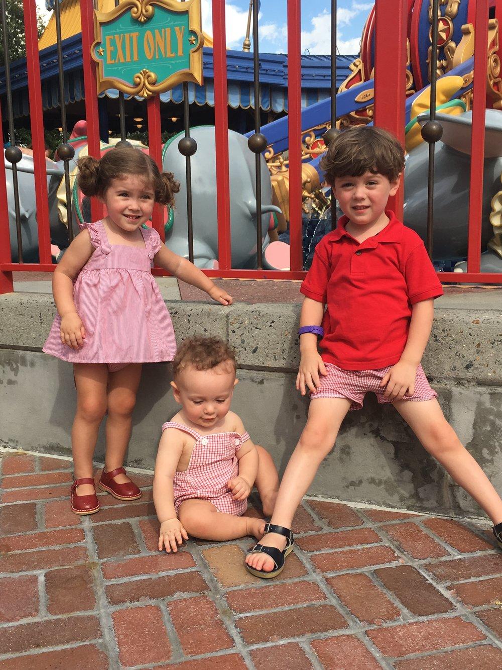"""Sarah P.'s children outside """"Dumbo the Flying Elephant"""""""