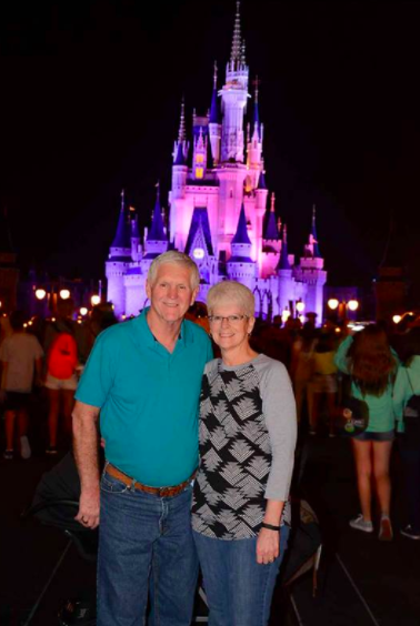 The Dawsons in front of Cinderella Castle