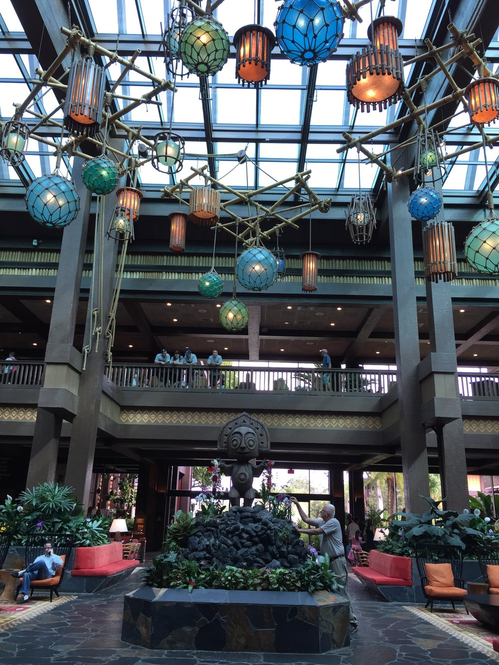The breathtaking lobby of  Disney's Polynesian Village  Resort, a deluxe resort on-property.