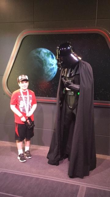 Shanna L's son meeting Darth Vader at  Disney's Hollywood Studios®
